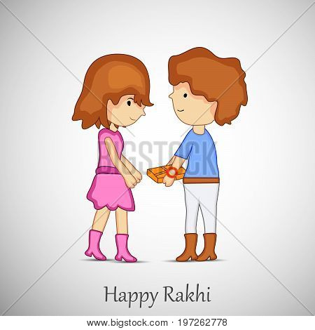illustration of girl and boy with happy rakhi text on the occasion of hindu festival Raksha Bandhan