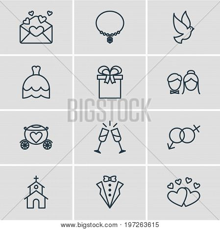 Editable Pack Of Bridegroom Dress, Wineglass, Love And Other Elements.  Vector Illustration Of 12 Wedding Icons.