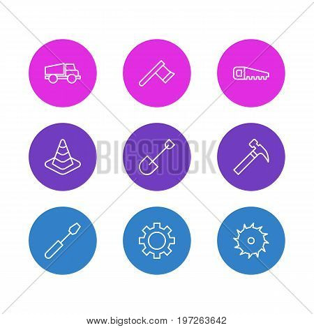 Editable Pack Of Hacksaw, Handle Hit, Hatchet Elements.  Vector Illustration Of 9 Structure Icons.