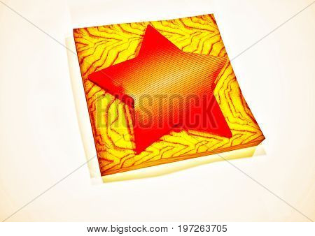 Red star 3D symbol on a wooden support. 3D rendering.