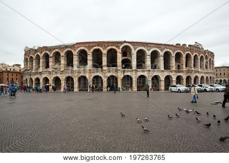 VERONA ITALY - MAY 1 2016: Ancient roman amphitheatre Arena in Verona Italy