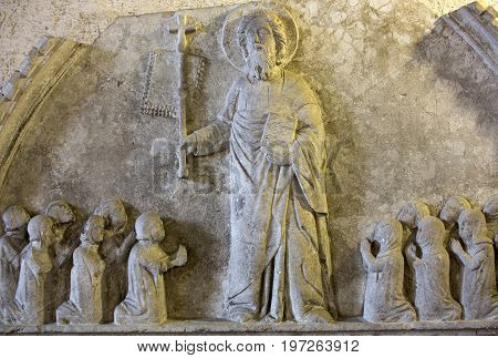 VERONA ITALY - MAY 1 2016: Lunette with Christ and Worshippers / XVc./ in Castelvecchio Museum. Verona Italy