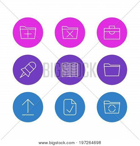 Editable Pack Of Portfolio, Note, Delete And Other Elements.  Vector Illustration Of 9 Bureau Icons.