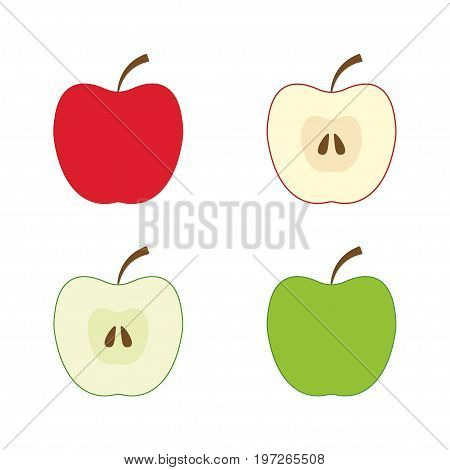 Red and green apples, half an apple, vector EPS 8