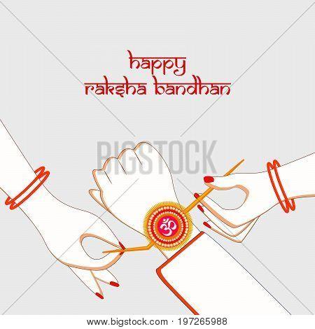 illustration of hands with happy raksha bandhan text on the occasion of hindu festival Raksha Bandhan