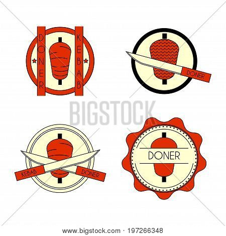 Doner kebab colorful badge set. Stock vector illustration of turkish fast food for restaurant logo and promo design.