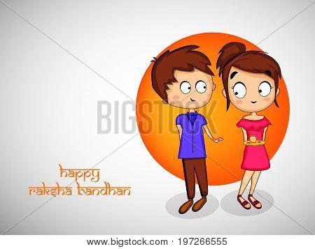 illustration of boy and girl with happy Raksha Bandhan text on the occasion of hindu festival Raksha Bandhan
