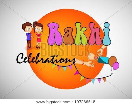 illustration of hands boy and girl with rakhi celebration text on the occasion of hindu festival Raksha Bandhan