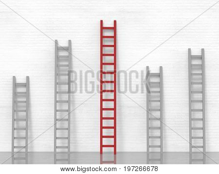 leadership concept with 3d rendering red ladder among grey ladders