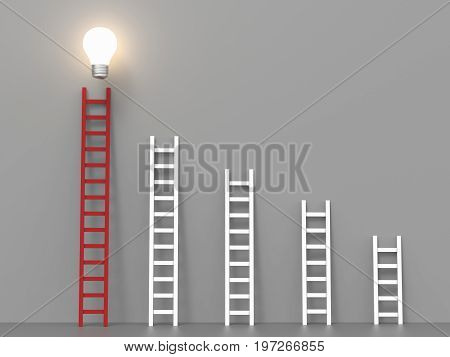 ladder to success concept with 3d rendering red ladder and idea light bulb