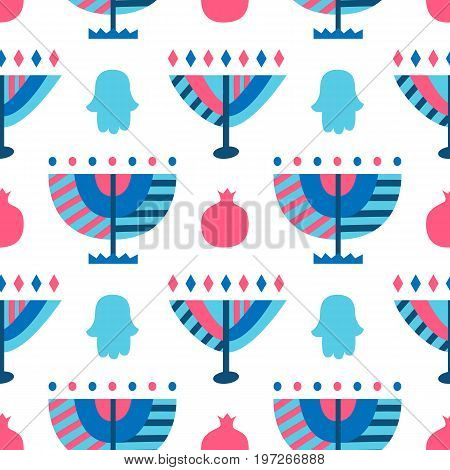 Hanukkah Menorah abstract seamless pattern. Jewish holiday background. Good for flyer, poster, banner, greeting card, wrapping paper, textile print, party invitation. Vector illustration