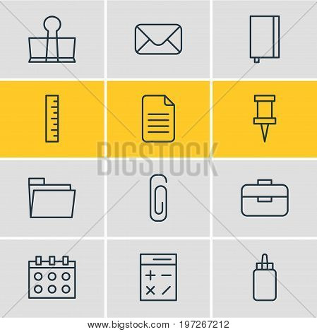 Editable Pack Of Paperclip, Copybook, Calculate And Other Elements.  Vector Illustration Of 12 Stationery Icons.