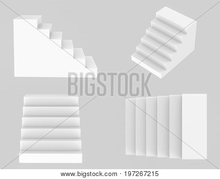 3d rendering white stairs model on grey background