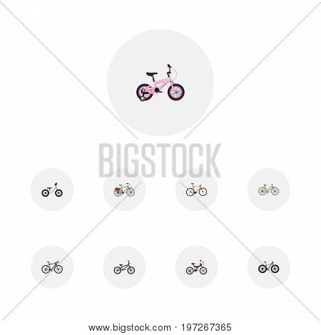 Realistic Cyclocross Drive, Adolescent, Working And Other Vector Elements