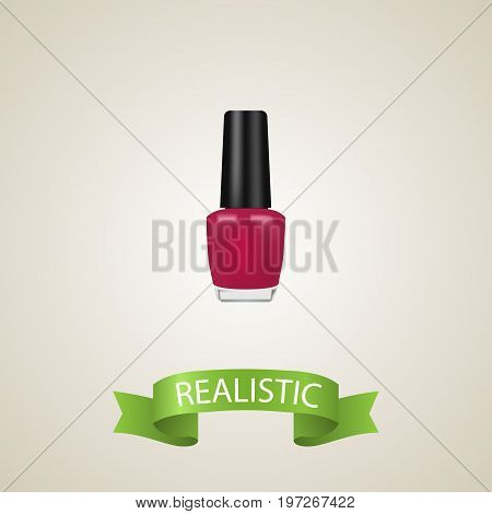 Realistic Nail Polish Element. Vector Illustration Of Realistic Varnish Isolated On Clean Background