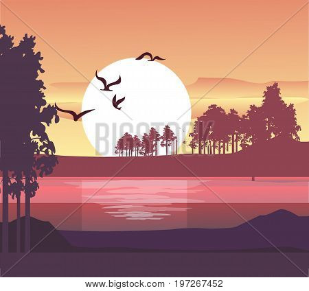 Vector illustration evening pajazh sunset over the river