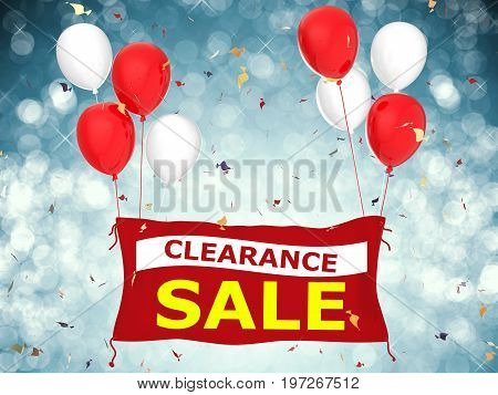 3d rendered clearance sale banner with red cloth banner red balloons and confetti