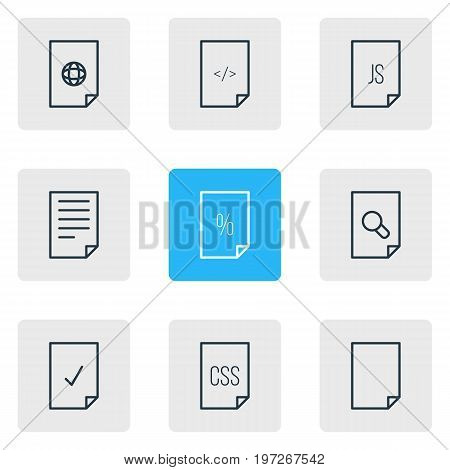 Editable Pack Of Script, File, Internet And Other Elements.  Vector Illustration Of 9 File Icons.