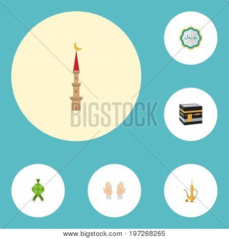 Flat Icons Decorative, Malay, Mecca And Other Vector Elements