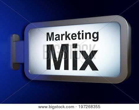 Advertising concept: Marketing Mix on advertising billboard background, 3D rendering