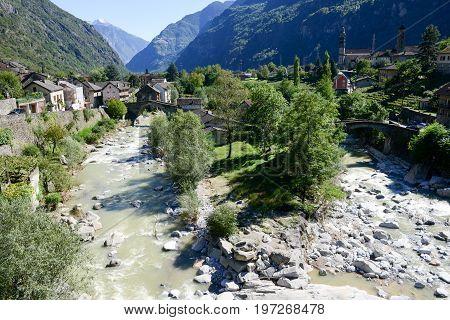 Giornico, Switzerland - 7 June 2016: River Ticino at Giornico on Leventina valley on the Swiss alps