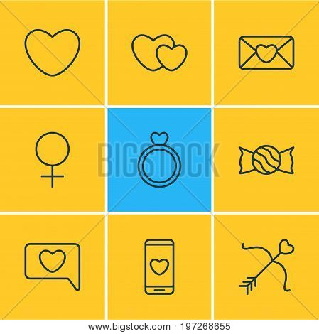 Editable Pack Of Engagement, Messenger, Cupid And Other Elements.  Vector Illustration Of 9 Love Icons.
