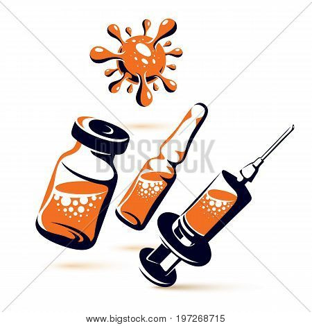Vector graphic illustration of bottle ampoule with medicine and medical syringe for injections. Antivirus vaccination concept.