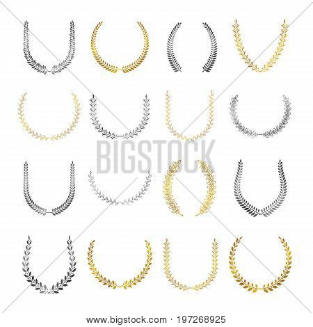 Laurel Wreaths floral heraldic elements set. Heraldic Coat of Arms decorative logo isolated vector illustrations collection.