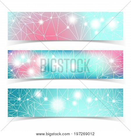 Banner set with multiple lines connected by dots against a blured background vector illustration