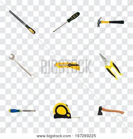 Realistic Hatchet, Sharpener, Scissors And Other Vector Elements