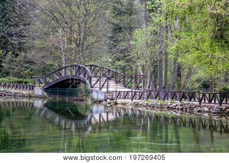 Wooden Bridge In Nature Park Vrelo Bosne