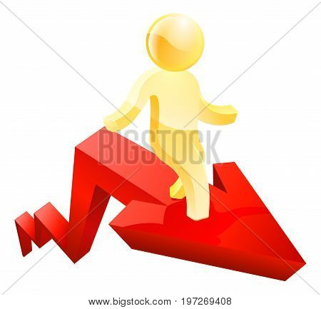 Businessman concept of a business person standing on an arrow