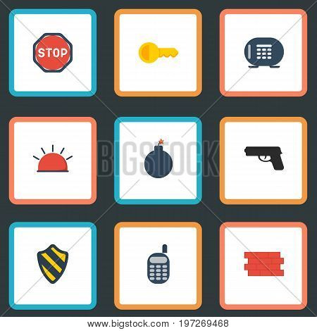 Flat Icons Walkie-Talkie, Gun, Road Sign And Other Vector Elements