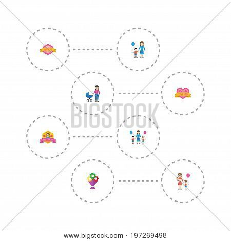 Happy Mother's Day Flat Icon Layout Design With Woman, Best Mother Ever And Flower Symbols