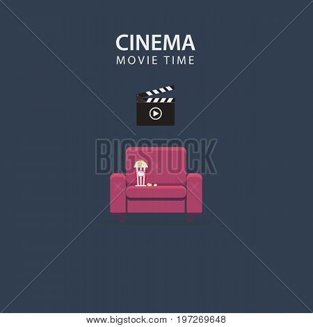 Movie Night Illustration. Home Cinema. Flat Design Of Couch with Popcorn and Film Slate