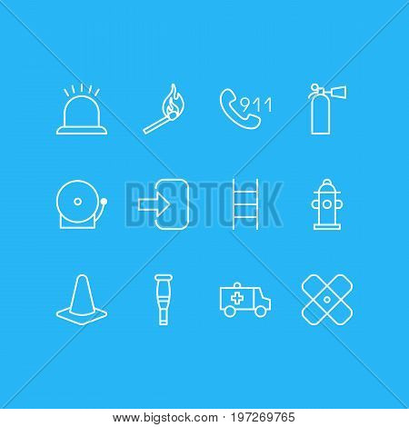 Editable Pack Of Taper, Stairs, Hotline And Other Elements.  Vector Illustration Of 12 Extra Icons.