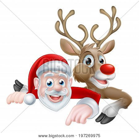 Cartoon Santa and reindeer peeking above sign and pointing Christmas illustration