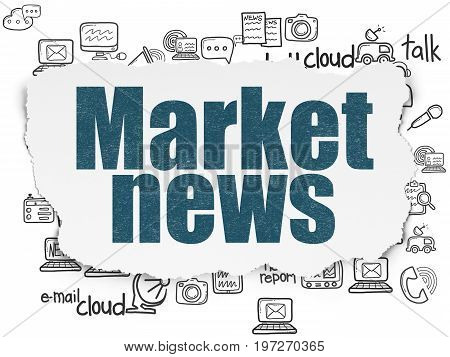 News concept: Painted blue text Market News on Torn Paper background with  Hand Drawn News Icons