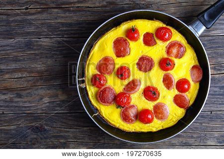 Omelette With Sausages And Cherry Tomatoes