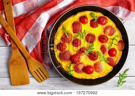 Quick And Easy Breakfast- Omelette With Sausages