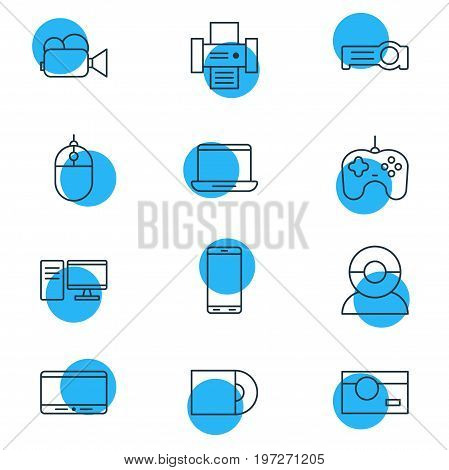 Editable Pack Of Cursor Controller, Monitor, Joypad And Other Elements.  Vector Illustration Of 12 Device Icons.