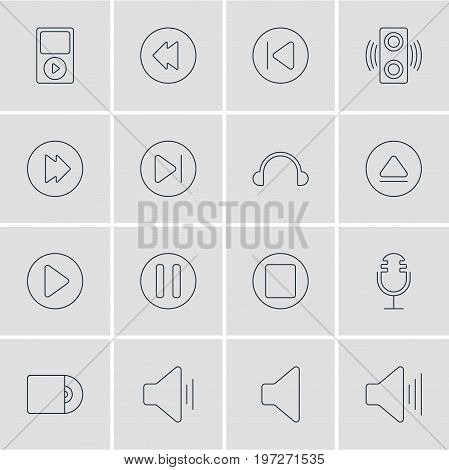 Editable Pack Of Reversing, Speaker, Preceding And Other Elements.  Vector Illustration Of 16 Melody Icons.