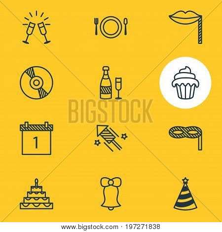 Editable Pack Of Fizz, Date Block, Masquerade And Other Elements.  Vector Illustration Of 12 Banquet Icons.