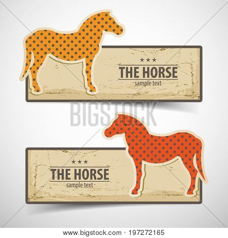 Colored horse design horizontal banners set with sample text flat isolated vector illustration