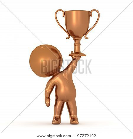 Bronze 3D Character holding a bronze third place trophy. Isolated on white.