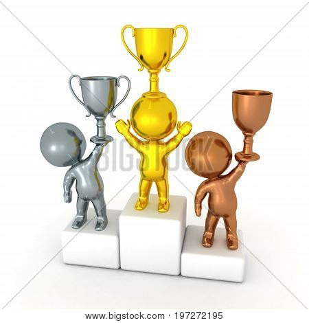 3D illustration of a competition podium with gold silver and bronze winners. Isolated on white.