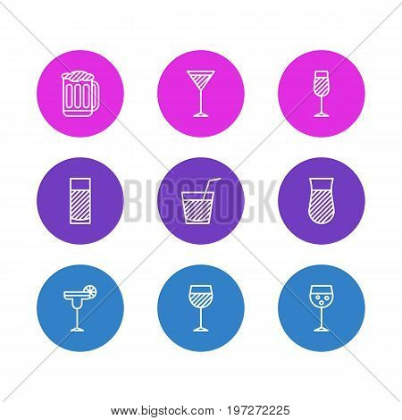 Editable Pack Of Beverage, Goblet, Champagne And Other Elements.  Vector Illustration Of 9 Beverage Icons.
