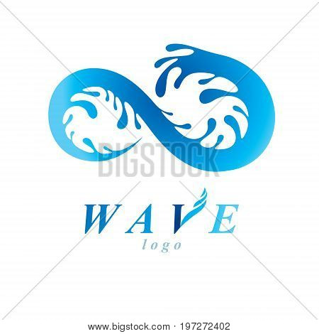 Freshwater conceptual blue vector emblem for use in mineral water advertising. Body cleansing concept. Infinity.