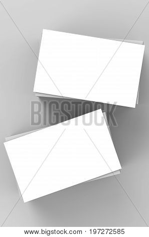 3d rendering stack of white blank business cards or name cards