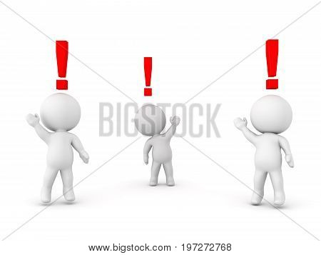 3D Characters eager to say something they have exclamation points above. Isolated on white.